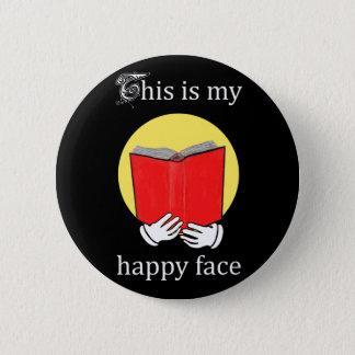 Bóton Redondo 5.08cm Esta é minha cara feliz - Emoji que lê um livro