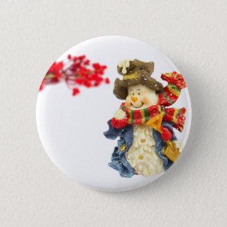 Bóton Redondo 5.08cm Estatueta bonito do boneco de neve com as bagas