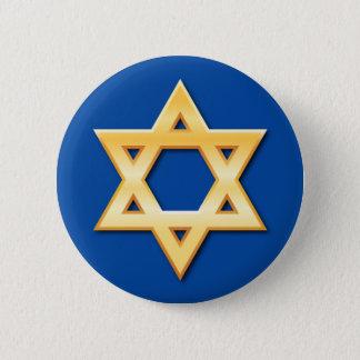 Bóton Redondo 5.08cm Estrela de David dourada no botão azul do fundo