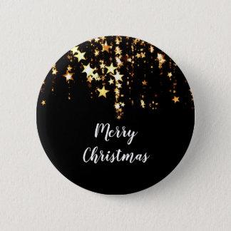 Bóton Redondo 5.08cm estrelas modernas elegantes do ouro do Feliz Natal