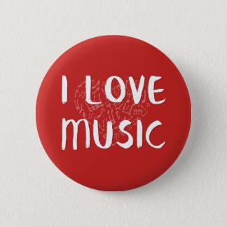 Bóton Redondo 5.08cm Eu amo a música com botão do coração