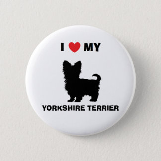 """Bóton Redondo 5.08cm """"Eu amo botão do meu yorkshire terrier"""""""