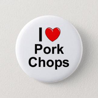Bóton Redondo 5.08cm Eu amo costeletas de carne de porco do coração