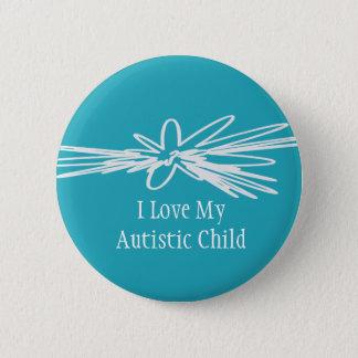 Bóton Redondo 5.08cm Eu amo meu botão autístico da criança