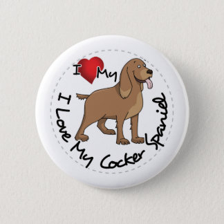 Bóton Redondo 5.08cm Eu amo meu cão de cocker spaniel
