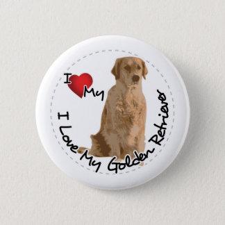 Bóton Redondo 5.08cm Eu amo meu cão do golden retriever