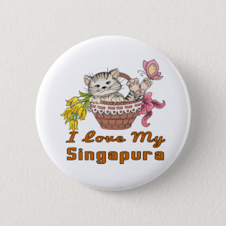 Bóton Redondo 5.08cm Eu amo meu Singapura