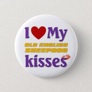 Bóton Redondo 5.08cm Eu amo meus beijos ingleses velhos do Sheepdog