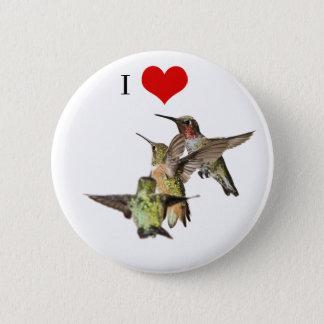 Bóton Redondo 5.08cm Eu amo o botão dos colibris