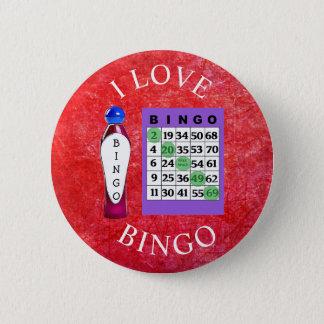 Bóton Redondo 5.08cm Eu amo o botão vermelho & roxo do BINGO dos