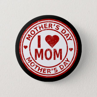 Bóton Redondo 5.08cm Eu amo o dia das mães STD da mamã, botão redondo