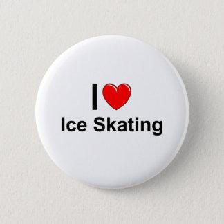 Bóton Redondo 5.08cm Eu amo o patinagem no gelo do coração