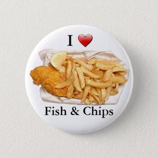 Bóton Redondo 5.08cm Eu amo o peixe com batatas fritas