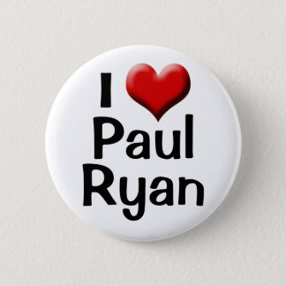 Bóton Redondo 5.08cm Eu amo Paul Ryan, botão vermelho do coração