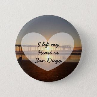 Bóton Redondo 5.08cm Eu deixei meu coração no botão de San Diego