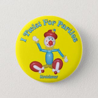Bóton Redondo 5.08cm Eu torço para o balão do palhaço do botão dos