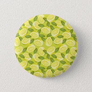 Bóton Redondo 5.08cm Fatias e folhas amarelas do limão do verão no