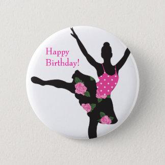 Bóton Redondo 5.08cm Favor do botão do feliz aniversario do rosa da