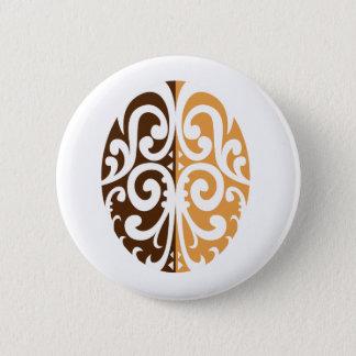 Bóton Redondo 5.08cm Feijão de café com motivo maori