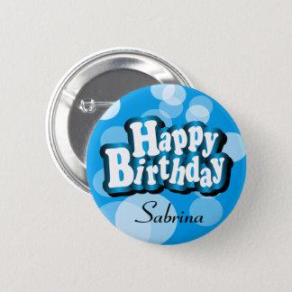 Bóton Redondo 5.08cm Feliz aniversario do texto de Diy em Bokeh azul