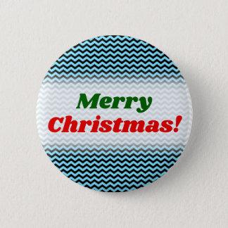 Bóton Redondo 5.08cm Feliz Natal! + Teste padrão azul & preto da luz -