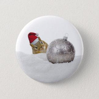 Bóton Redondo 5.08cm Feriado bonito da prata do Chipmunk e do Natal da