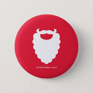 Bóton Redondo 5.08cm Feriado moderno da barba vermelha e branca do