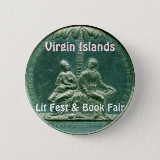 Bóton Redondo 5.08cm Fest do Lit de Virgin Islands & feira de livro