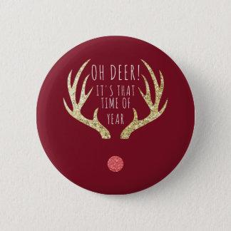 Bóton Redondo 5.08cm Festa natalícia do Natal dos Antlers dos cervos