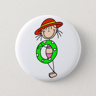 Bóton Redondo 5.08cm Figura botão da vara da natação da menina