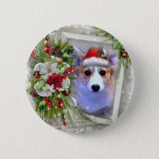 Bóton Redondo 5.08cm Filhote de cachorro do Corgi do Natal no quadro