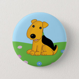 Bóton Redondo 5.08cm Filhote de cachorro feliz bonito de Airedale