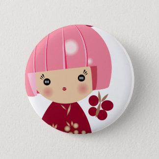 Bóton Redondo 5.08cm Fim cor-de-rosa da objectiva tripla de Kokeshi