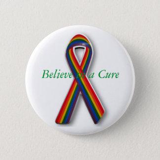 Bóton Redondo 5.08cm Fita do arco-íris do cancer