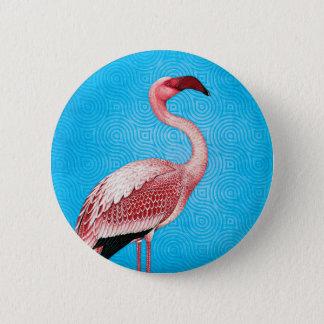 Bóton Redondo 5.08cm Flamingo cor-de-rosa no teste padrão azul retro