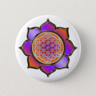 Bóton Redondo 5.08cm Flor a vida Lotus - violet alaranjado/trans.