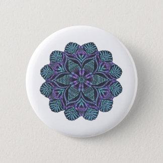 Bóton Redondo 5.08cm Flor azul teste padrão tecido