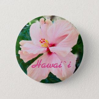 Bóton Redondo 5.08cm Flor cor-de-rosa tropical de Havaí