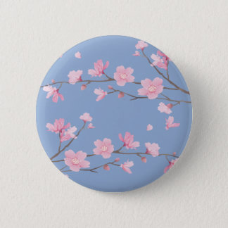 Bóton Redondo 5.08cm Flor de cerejeira - azul da serenidade