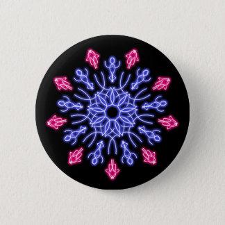 Bóton Redondo 5.08cm Flor de néon azul e vermelha