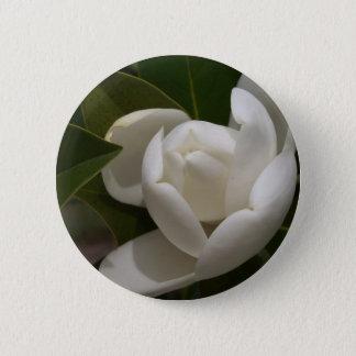 Bóton Redondo 5.08cm flor em botão branca de magnólia do sul
