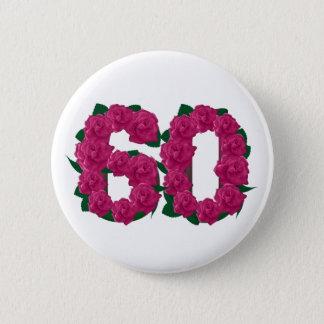 Bóton Redondo 5.08cm floral do número 60 cor-de-rosa dos rosas 60th