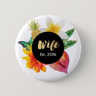 Bóton Redondo 5.08cm Floral tropical da esposa do roteiro do ouro