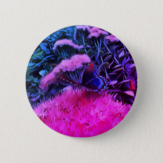 Bóton Redondo 5.08cm Flores azuis cor-de-rosa de néon com borboleta de