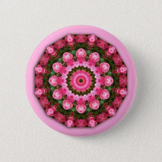 Bóton Redondo 5.08cm Flores cor-de-rosa, mandala-estilo floral