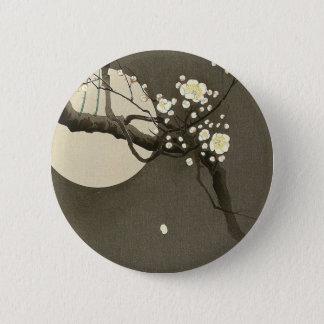 Bóton Redondo 5.08cm Flores da ameixa na noite por Ohara Koson elegante