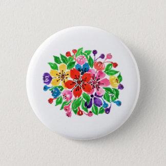 Bóton Redondo 5.08cm Flores do arco-íris da aguarela