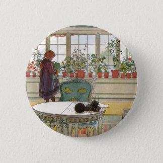 Bóton Redondo 5.08cm Flores no Windowsill por Carl Larsson
