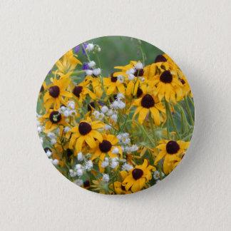 Bóton Redondo 5.08cm Flores susan de olhos pretos