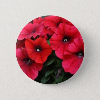 Bóton Redondo 5.08cm Flores vermelhas do petúnia